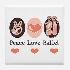 Peace Love Ballet Ballerina Tile Coaster