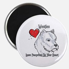 Westies Leave Paw Prints On Your Heart Magnet