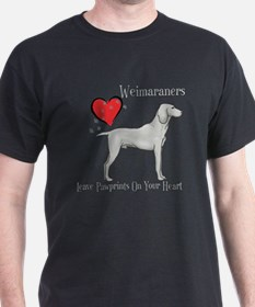 Weimaraners Leave Paw Prints T-Shirt