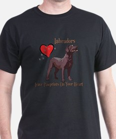 Chocolate Labs Leave Paw Prints T-Shirt