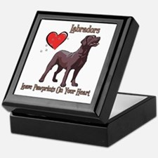 Chocolate Labs Leave Paw Prints Keepsake Box