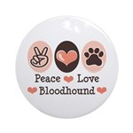 Peace Love Bloodhound Ornament (Round)