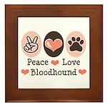 Peace Love Bloodhound Framed Tile