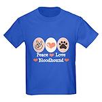 Peace Love Bloodhound Kids Dark T-Shirt