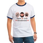 Peace Love Bloodhound Ringer T