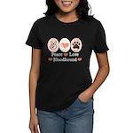 Peace Love Bloodhound Women's Dark T-Shirt