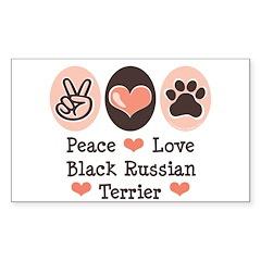 Peace Love Black Russian Terrier Sticker (Rectangu