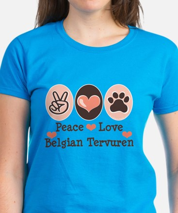 Peace Love Belgian Tervuren Women's Dark T-Shirt