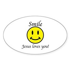 Smile Jesus Oval Decal