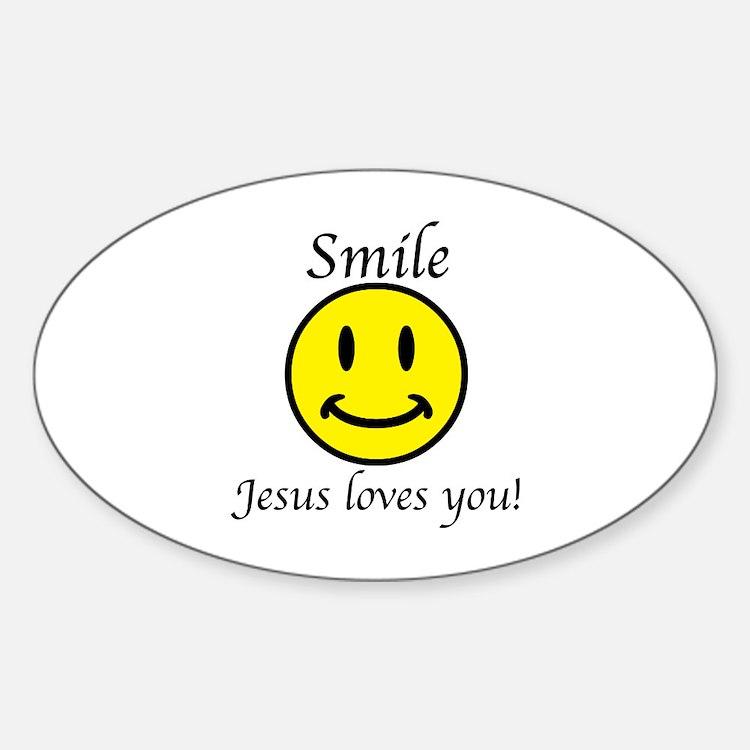 Smile Jesus Sticker (Oval)