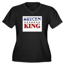 BRYCEN for king Women's Plus Size V-Neck Dark T-Sh