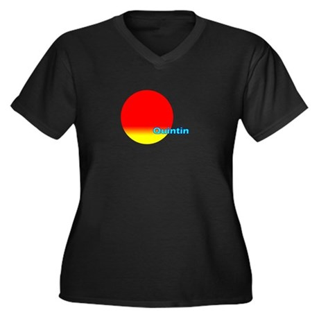 Quintin Women's Plus Size V-Neck Dark T-Shirt