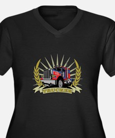Trucker Gifts Women's Plus Size V-Neck Dark T-Shir