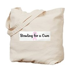 Bowling for a Cure pink ribbo Tote Bag