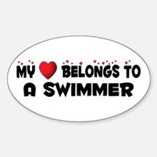 Belongs To A Swimmer Oval Decal