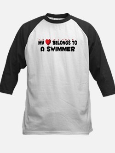 Belongs To A Swimmer Kids Baseball Jersey