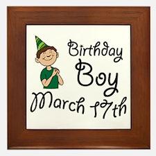 Birthday Boy March 17th Framed Tile