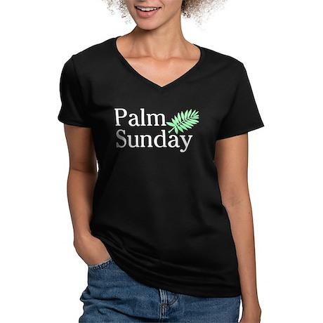 Palm Sunday Women's V-Neck Dark T-Shirt