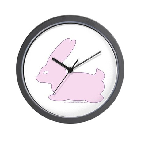 Pink Easter Bunny Silhouette Wall Clock