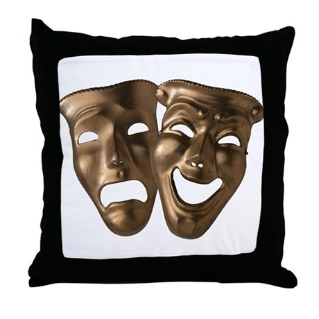 Comedy/Tragedy Masks Throw Pillow