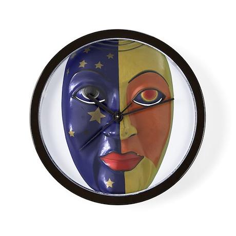 Sun & Moon Mask Wall Clock