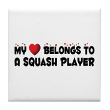 Belongs To A Squash Player Tile Coaster