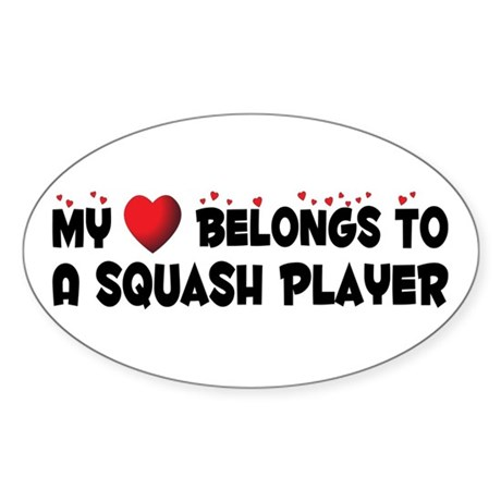 Belongs To A Squash Player Oval Sticker