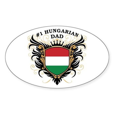 Number One Hungarian Dad Oval Sticker