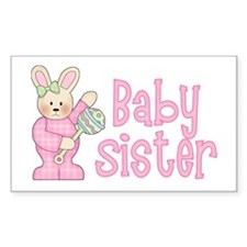 Bunny Baby Sister Rattle Rectangle Decal