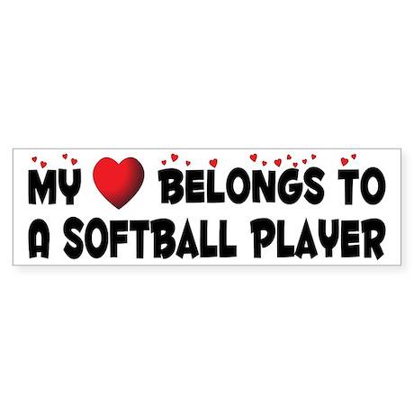 Belongs To A Softball Player Bumper Sticker