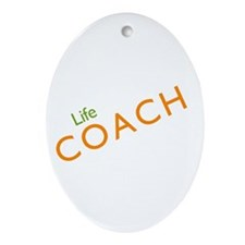 Life Coach: Orange Oval Ornament