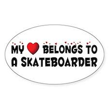 Belongs To A Skateboarder Oval Decal