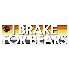 I Brake for Bears Bumper Car Sticker