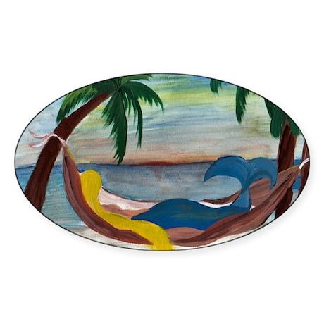 Lazy Mermaid Oval Sticker