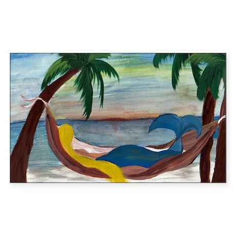 Lazy Mermaid Rectangle Sticker