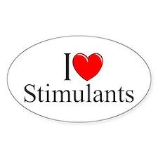 """I Love (Heart) Stimulants"" Oval Decal"