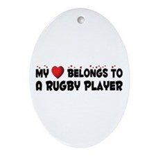 Belongs To A Rugby Player Oval Ornament