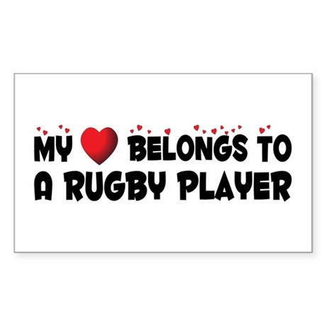 Belongs To A Rugby Player Rectangle Sticker