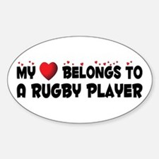 Belongs To A Rugby Player Oval Decal