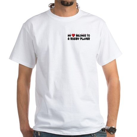 Belongs To A Rugby Player White T-Shirt