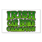 Irish Car Bomb Champion Shamrock Sticker (Rectangu