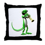 Blues Trumpet Gecko Throw Pillow