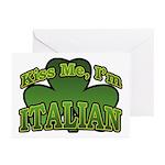 Kiss Me I'm Italian Shamrock Greeting Cards (Pk of