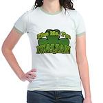 Kiss Me I'm Italian Shamrock Jr. Ringer T-Shirt