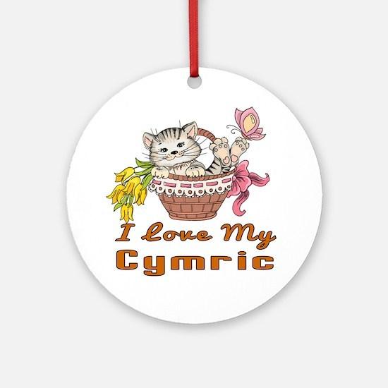 I Love My Cymric Designs Round Ornament