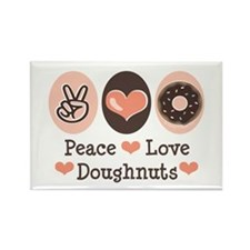 Peace Love Doughnuts Donut Rectangle Magnet