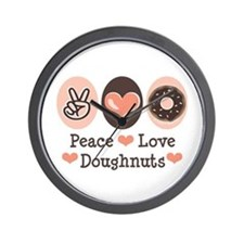 Peace Love Doughnuts Donut Wall Clock