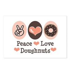 Peace Love Doughnuts Donut Postcards (Package of 8