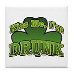 Kiss Me I'm Drunk Shamrock Tile Coaster