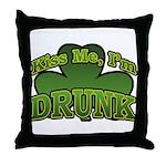 Kiss Me I'm Drunk Shamrock Throw Pillow